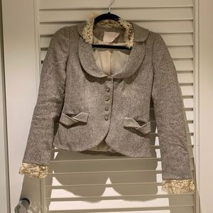 Rebecca Taylor tweed blazer with lace